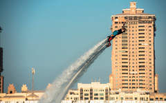 Forget the water skiis, it's all about flyboarding