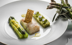 Guest recipe: Philippe Jourdin's line-caught seabass cooked on fennel wood and green asparagus with a black olive oil emulsion