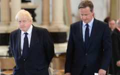 LONDON, UNITED KINGDOM - JULY 7: (L-R) London Mayor Boris Johnson and British Prime Minister David Cameron attend the service to commemorate the tenth anniversary of the London 7/7 bombings at St Pauls Cathedral on July 7, 2015 in London, England.  Today is the tenth anniversary of the 7/7 bombings, when four suicide bombers struck transport system in central London on Thursday 7 July 2005, killing 52 people and injuring more than 770 in simultaneous attacks.  (Photo by Jeremy Selwyn - WPA Pool/Getty Images)