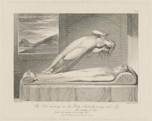 The Soul hovering over the Body reluctantly parting with life, Schiavonetti after William Blake