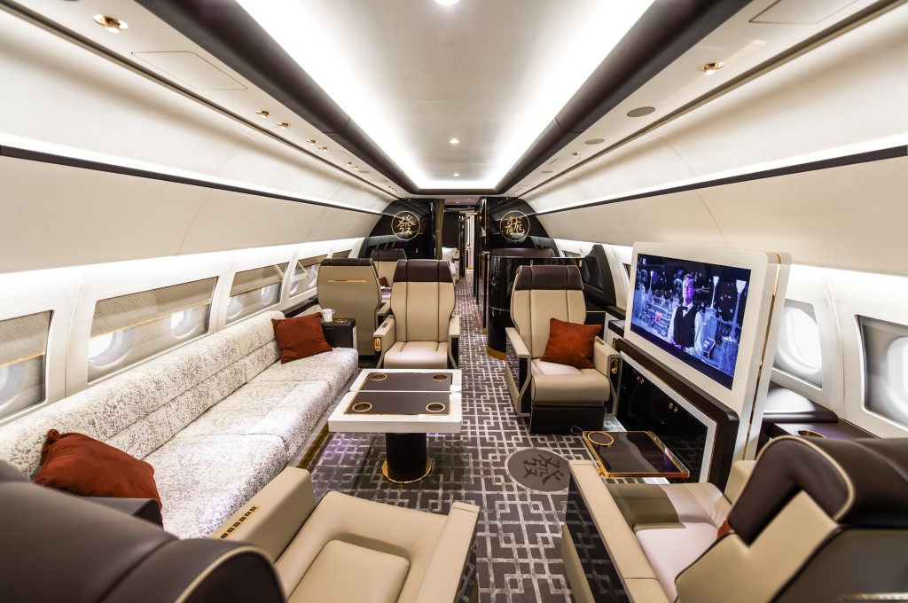 The private jet interior furnished like a vintage train