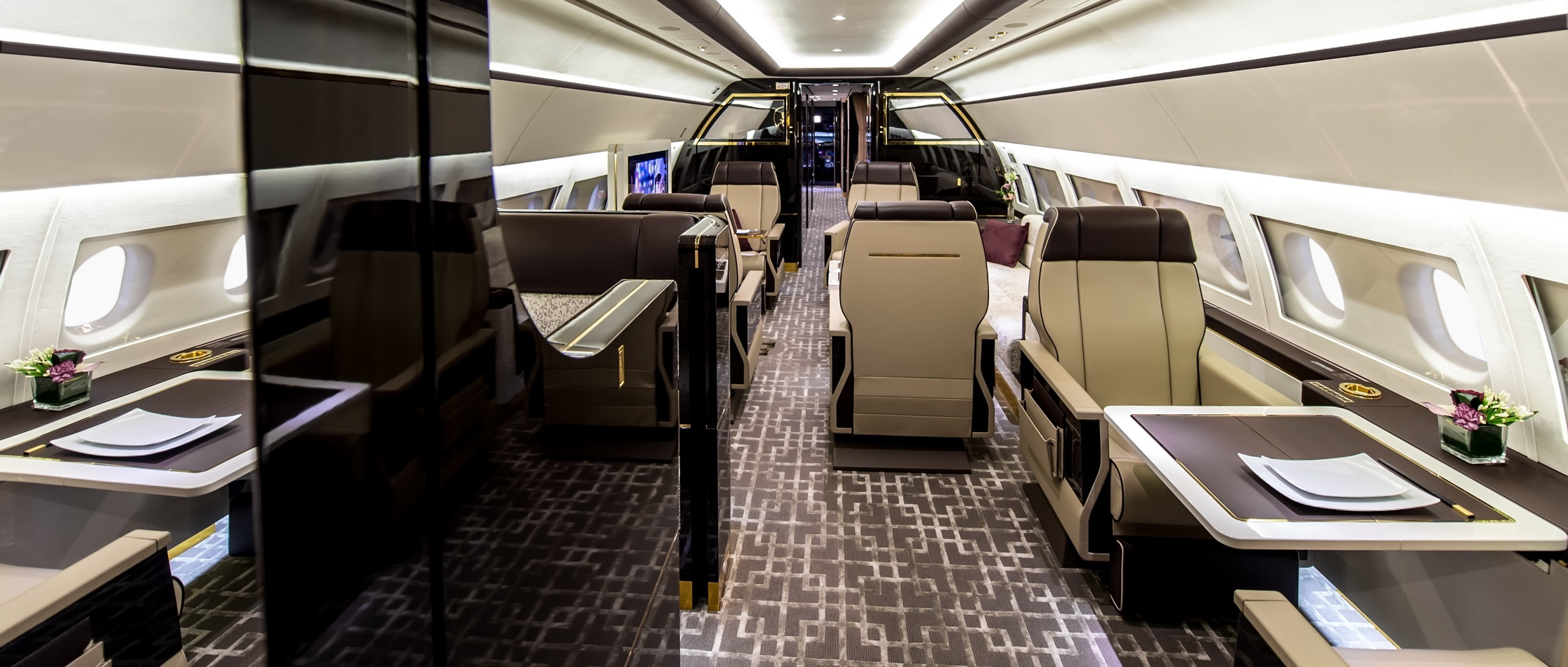Private jet interior furnished like a vintage train aviation - Http Www Spearswms Com Wp Content Uploads 2016 02 Mainj Jpg