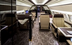 The new ACJ319 private jet interior is inspired by a vintage train