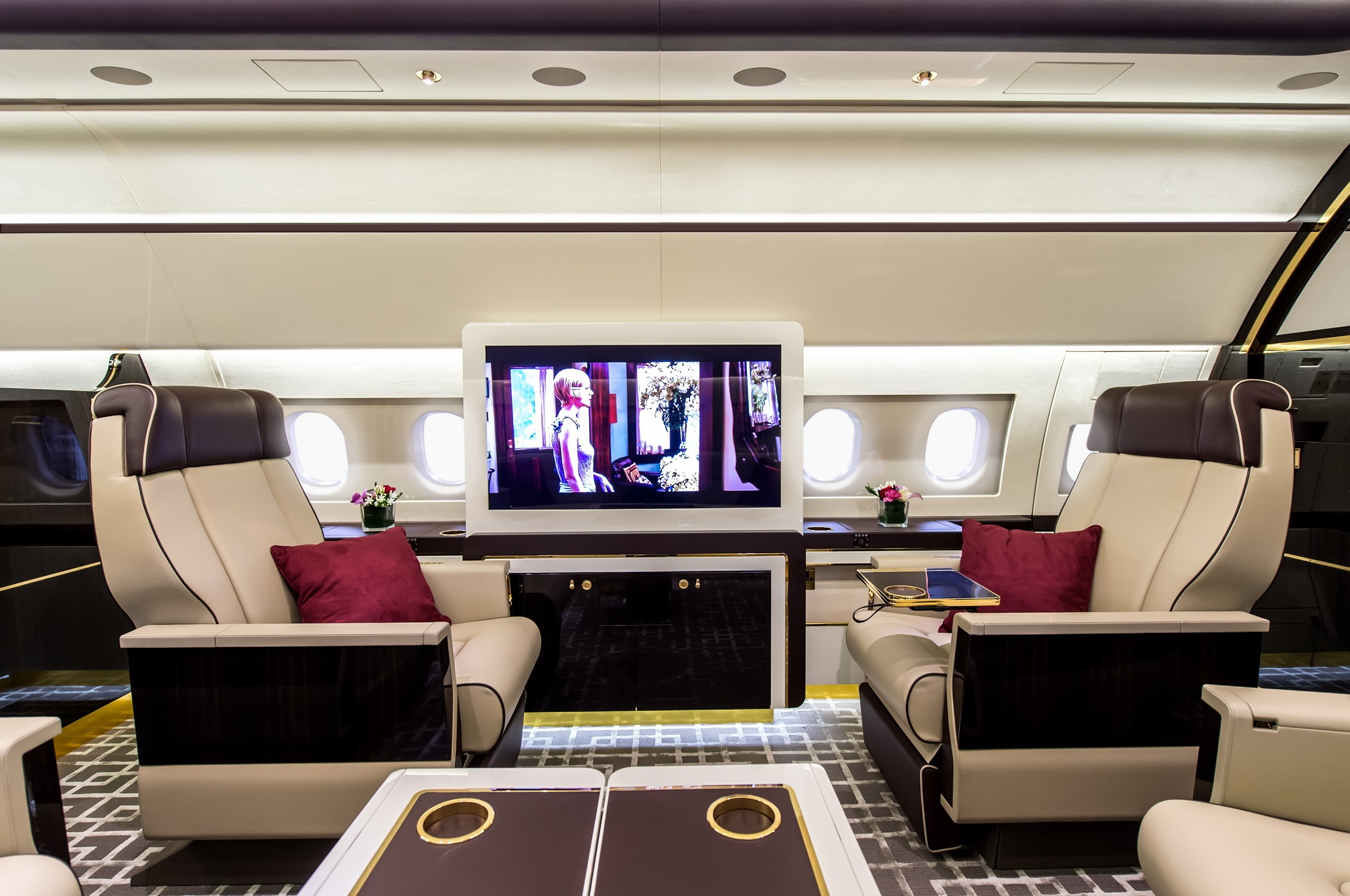 Private jet interior furnished like a vintage train aviation - Http Www Spearswms Com Wp Content Uploads 2016 02 Mainj33 Jpg