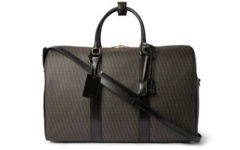 Leather-Trimmed Monogrammed Coated Cotton-Canvas Holdall