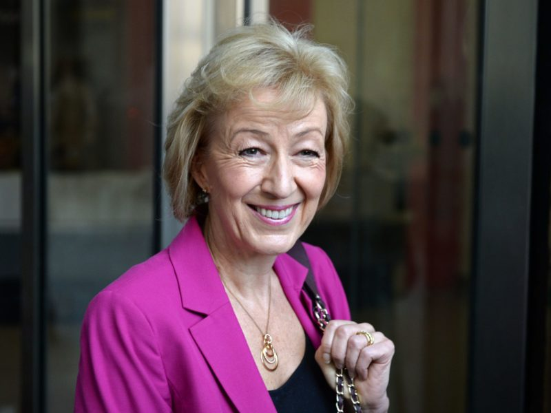 """British Conservative party leadership candidate Andrea Leadsom stops to pose for photographers as she arrives at the BBC television centre in London to appear on """"The Andrew Marr Show"""" in London on July 3, 2016. British media reported Saturday that energy minister and Brexit backer Angela Leadsom has become the favourite to face Theresa May on the ballot paper. / AFP / CHRIS J RATCLIFFE        (Photo credit should read CHRIS J RATCLIFFE/AFP/Getty Images)"""