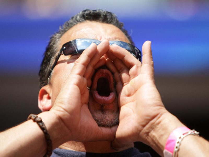 """A Texans fan screems """"boo"""" after the Texans failed to get out of a four down situation during the third quarter of the Houston Texans and Kansas City Chiefs, NFL football game at Reliant Stadium Oct. 17, 2010, in Houston.   ( Karen Warren / Houston Chronicle )"""