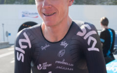 Team Sky rider and Tour de France Winner Chris Froome crosses the English Channel by bicycle, using the Eurotunnel service tunnel and supprt by Jaguar Cars.