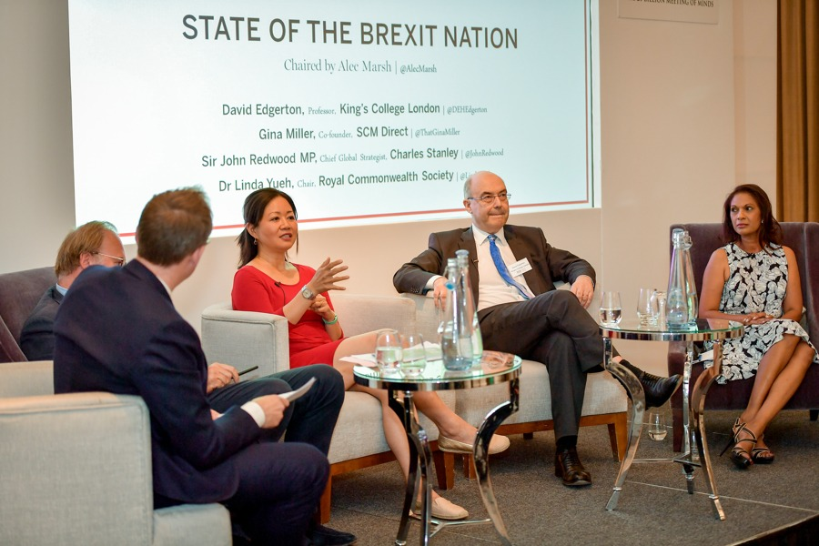 Spear's founder William Cash, Spear's editor Alec Marsh, Royal Commonwealth Society chair Dr Linda Yueh, historian Dr David Edgerton, anti-Brexit campaigner Gina Miller at the Spear's Wealth Insight Forum 2019