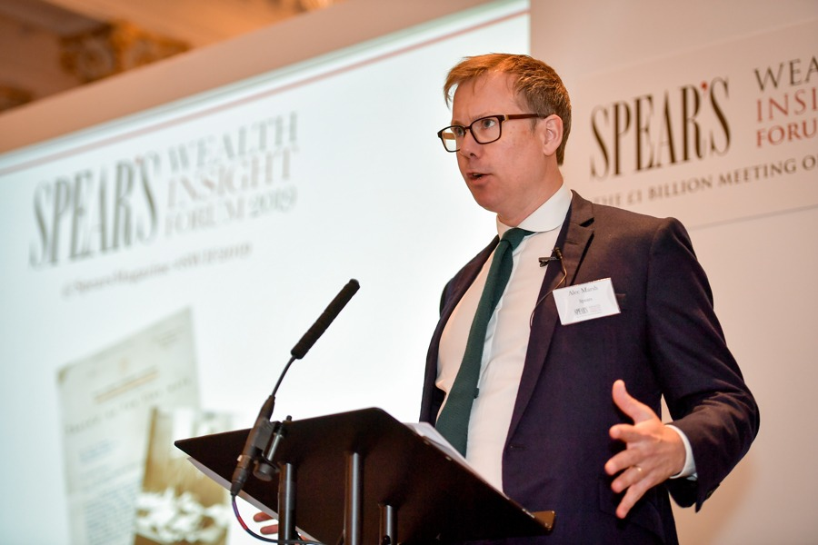 Spear's editor Alec Marsh at the 2019 Spear's Wealth Insight Forum