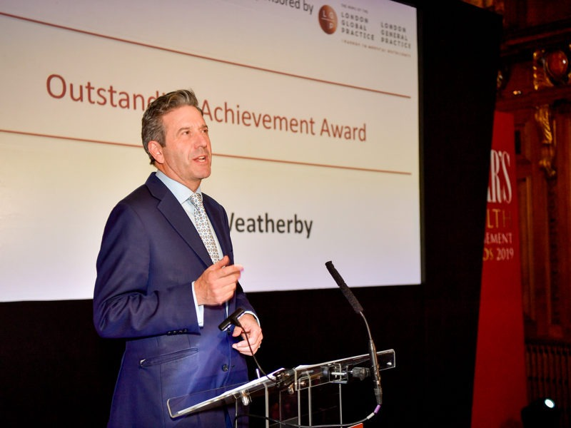 Roger Weatherby wins the Outstanding Achievement Award at the Spear's Wealth Management Awards 2019