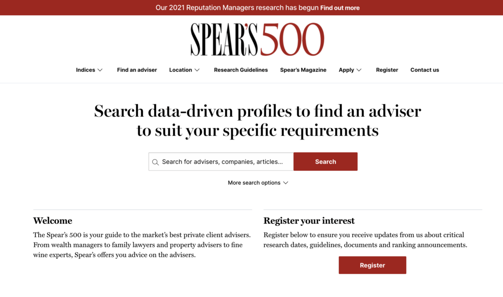 The new Spear's 500 website